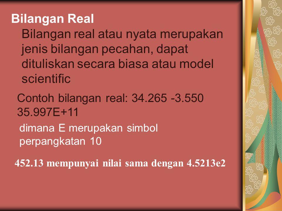 Bilangan Real Bilangan real atau nyata merupakan jenis bilangan pecahan, dapat dituliskan secara biasa atau model scientific Contoh bilangan real: 34.265 -3.550 35.997E+11 dimana E merupakan simbol perpangkatan 10 452.13 mempunyai nilai sama dengan 4.5213e2