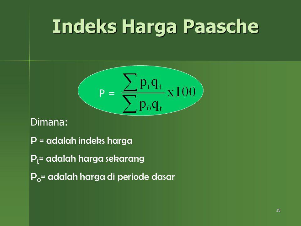 15 Indeks Harga Paasche P = Dimana: P = adalah indeks harga P t = adalah harga sekarang P 0 = adalah harga di periode dasar
