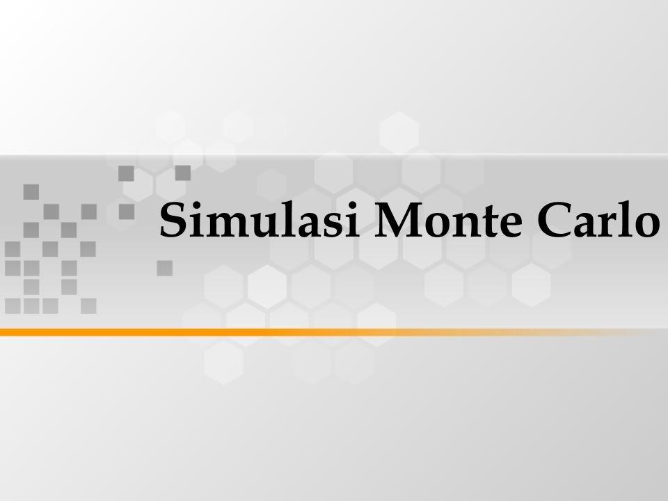 Simulasi monte carlo melibatkan penggunaan angka acak untuk memodelkan sistem, dimana waktu tidak memegang peranan yang substantif ( model statis ) Pembangkitan data buatan ( artificial data ) dengan menggunakan pembangkit angka acak ( pseudo random numbers generator ) dan sebaran komulatif yang menjadi interes