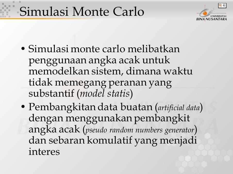 Simulasi monte carlo melibatkan penggunaan angka acak untuk memodelkan sistem, dimana waktu tidak memegang peranan yang substantif ( model statis ) Pe