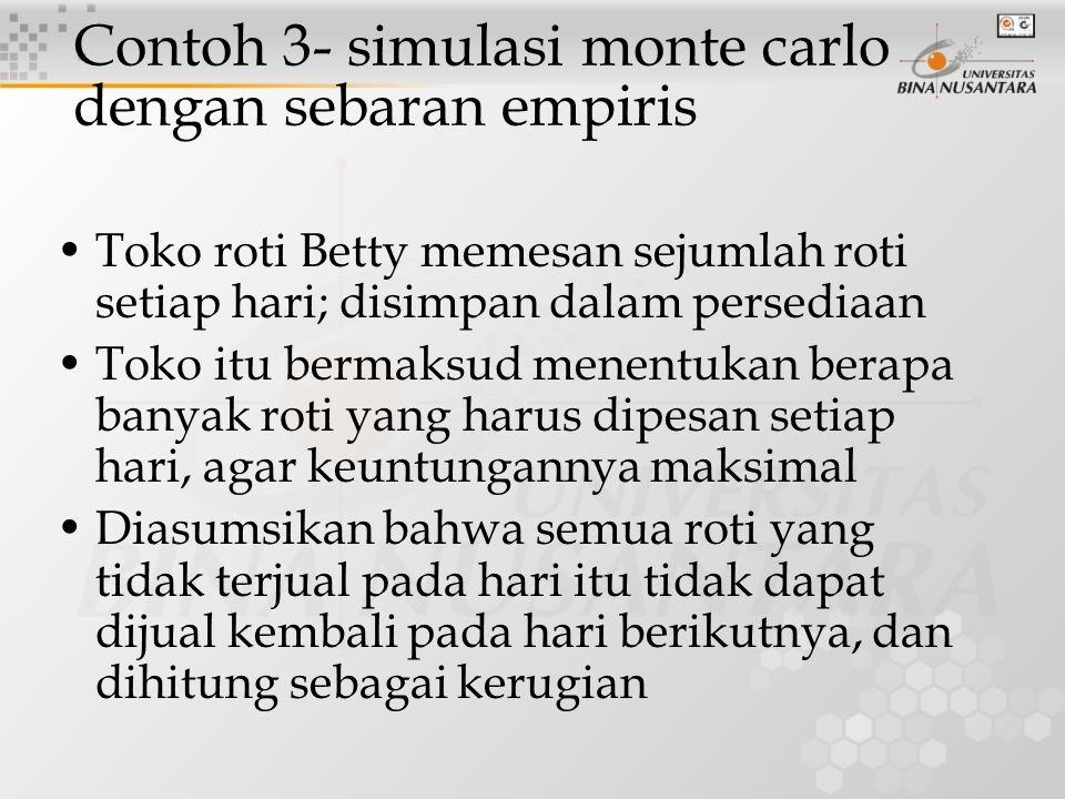Contoh 3- simulasi monte carlo dengan sebaran empiris Toko roti Betty memesan sejumlah roti setiap hari; disimpan dalam persediaan Toko itu bermaksud
