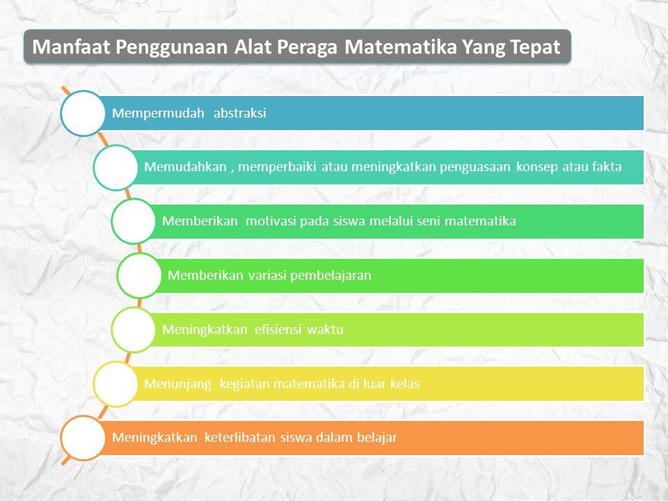 Manfaat Penggunaan Alat Peraga Matematika Yang Tepat Mempermudah abstraksi Memudahkan, memperbaiki atau meningkatkan penguasaan konsep atau fakta Memb