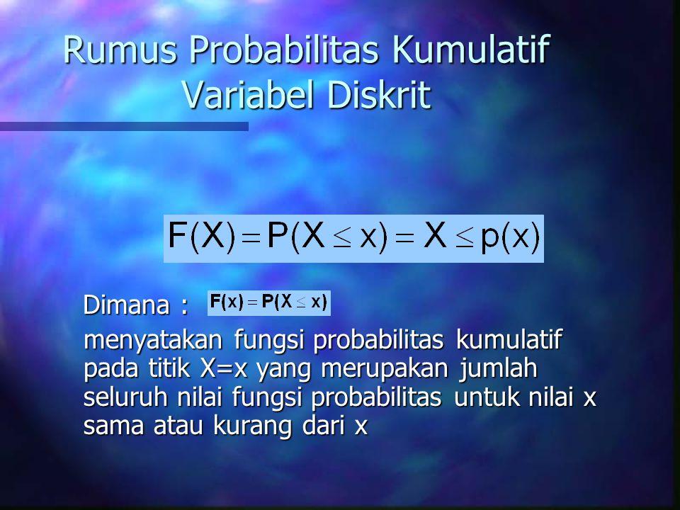 Rumus Probabilitas Kumulatif Variabel Diskrit Dimana : Dimana : menyatakan fungsi probabilitas kumulatif pada titik X=x yang merupakan jumlah seluruh nilai fungsi probabilitas untuk nilai x sama atau kurang dari x
