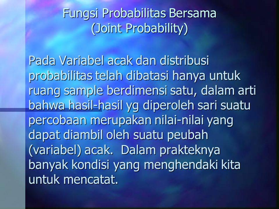 Fungsi Probabilitas Bersama (Joint Probability) Pada Variabel acak dan distribusi probabilitas telah dibatasi hanya untuk ruang sample berdimensi satu, dalam arti bahwa hasil-hasil yg diperoleh sari suatu percobaan merupakan nilai-nilai yang dapat diambil oleh suatu peubah (variabel) acak.