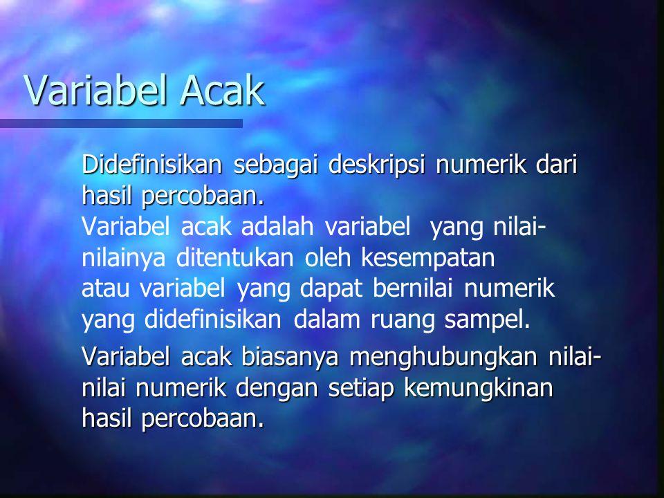 Variabel Acak Didefinisikan sebagai deskripsi numerik dari hasil percobaan. Variabel acak adalah variabel yang nilai- nilainya ditentukan oleh kesempa