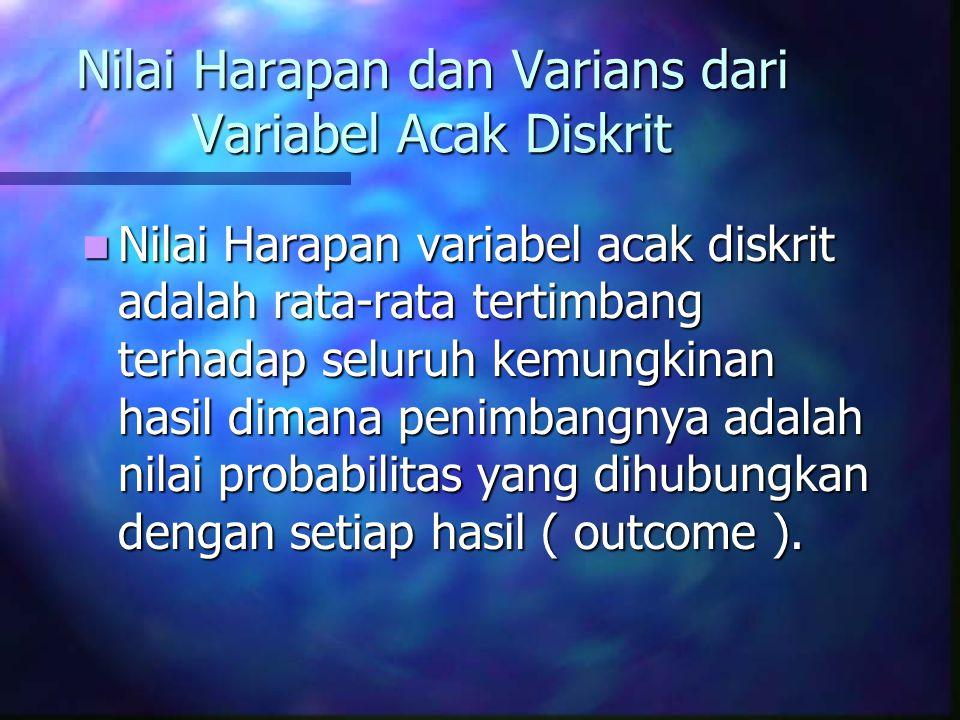 Nilai Harapan dan Varians dari Variabel Acak Diskrit Nilai Harapan variabel acak diskrit adalah rata-rata tertimbang terhadap seluruh kemungkinan hasil dimana penimbangnya adalah nilai probabilitas yang dihubungkan dengan setiap hasil ( outcome ).