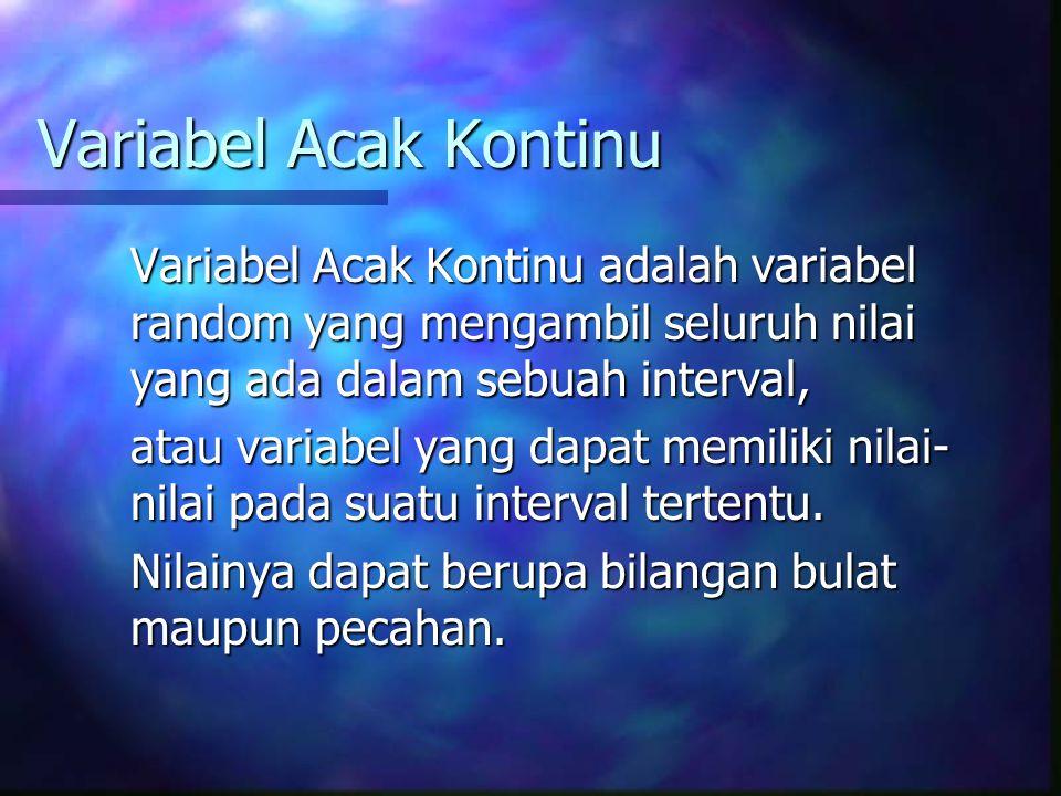 Variabel Acak Kontinu Variabel Acak Kontinu adalah variabel random yang mengambil seluruh nilai yang ada dalam sebuah interval, atau variabel yang dap