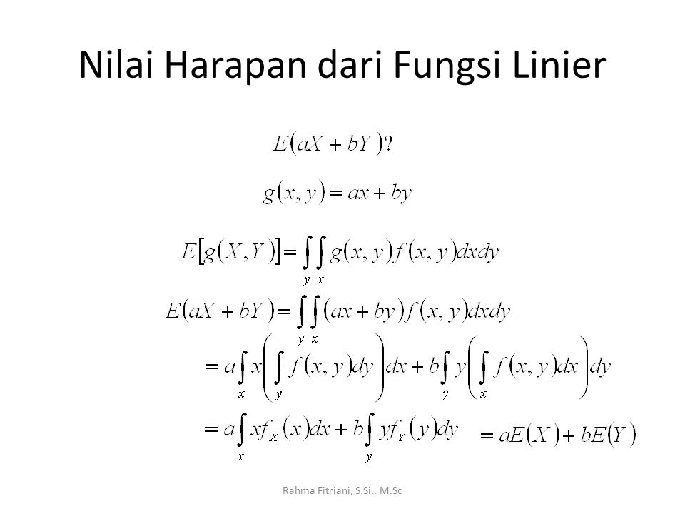Nilai Harapan dari Fungsi Linier