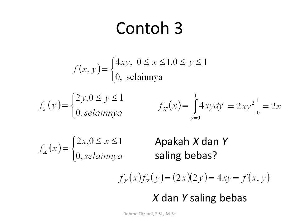 Contoh 3 Rahma Fitriani, S.Si., M.Sc Apakah X dan Y saling bebas X dan Y saling bebas