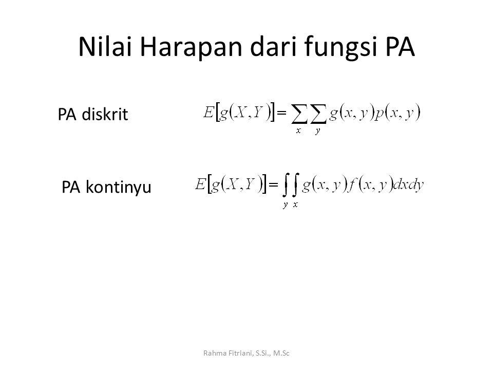 Nilai Harapan dari fungsi PA Rahma Fitriani, S.Si., M.Sc PA diskrit PA kontinyu