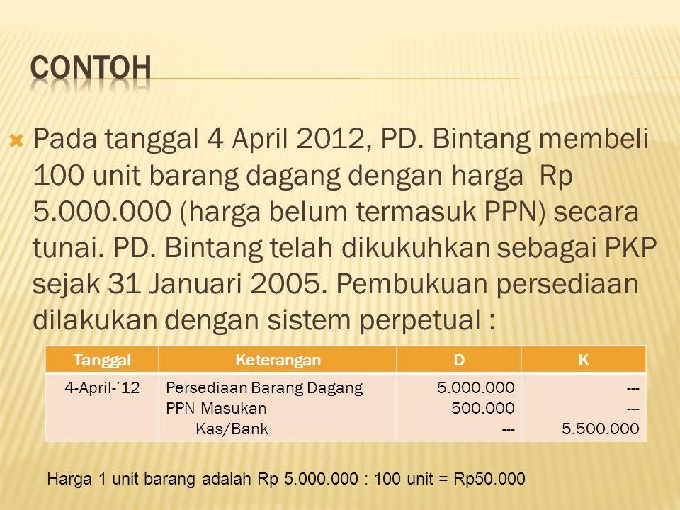  Pada tanggal 30 April 2012, PD.