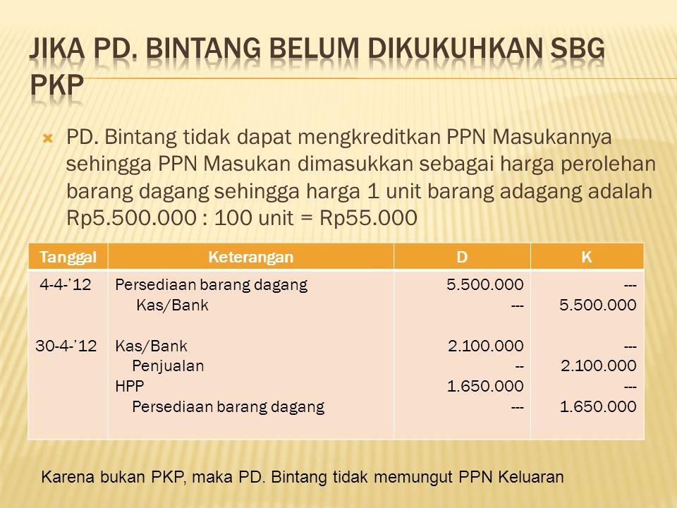  PD. Bintang tidak dapat mengkreditkan PPN Masukannya sehingga PPN Masukan dimasukkan sebagai harga perolehan barang dagang sehingga harga 1 unit bar
