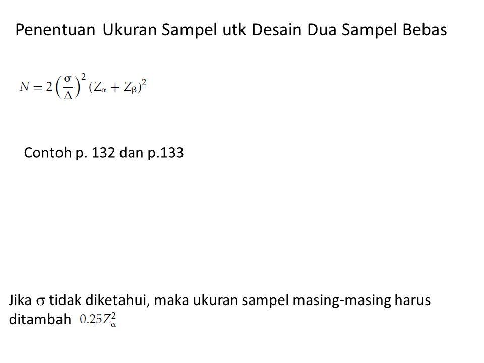 Penentuan Ukuran Sampel utk Desain Dua Sampel Bebas Contoh p.