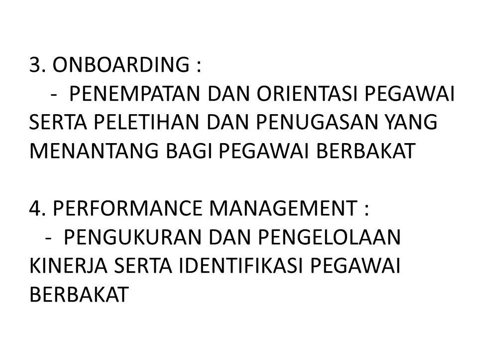 3. ONBOARDING : - PENEMPATAN DAN ORIENTASI PEGAWAI SERTA PELETIHAN DAN PENUGASAN YANG MENANTANG BAGI PEGAWAI BERBAKAT 4. PERFORMANCE MANAGEMENT : - PE