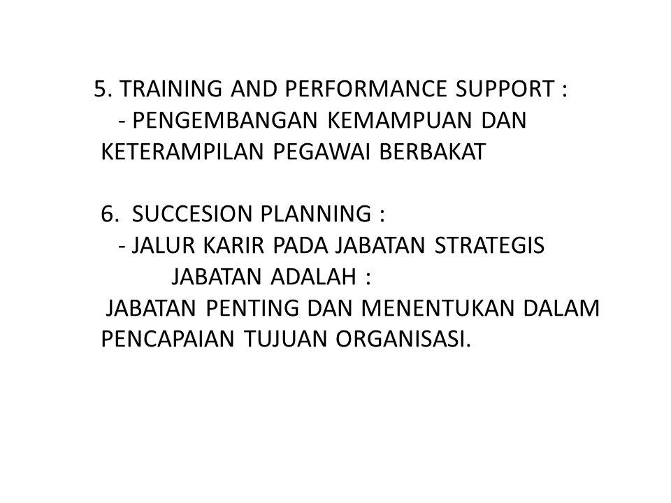 5. TRAINING AND PERFORMANCE SUPPORT : - PENGEMBANGAN KEMAMPUAN DAN KETERAMPILAN PEGAWAI BERBAKAT 6. SUCCESION PLANNING : - JALUR KARIR PADA JABATAN ST