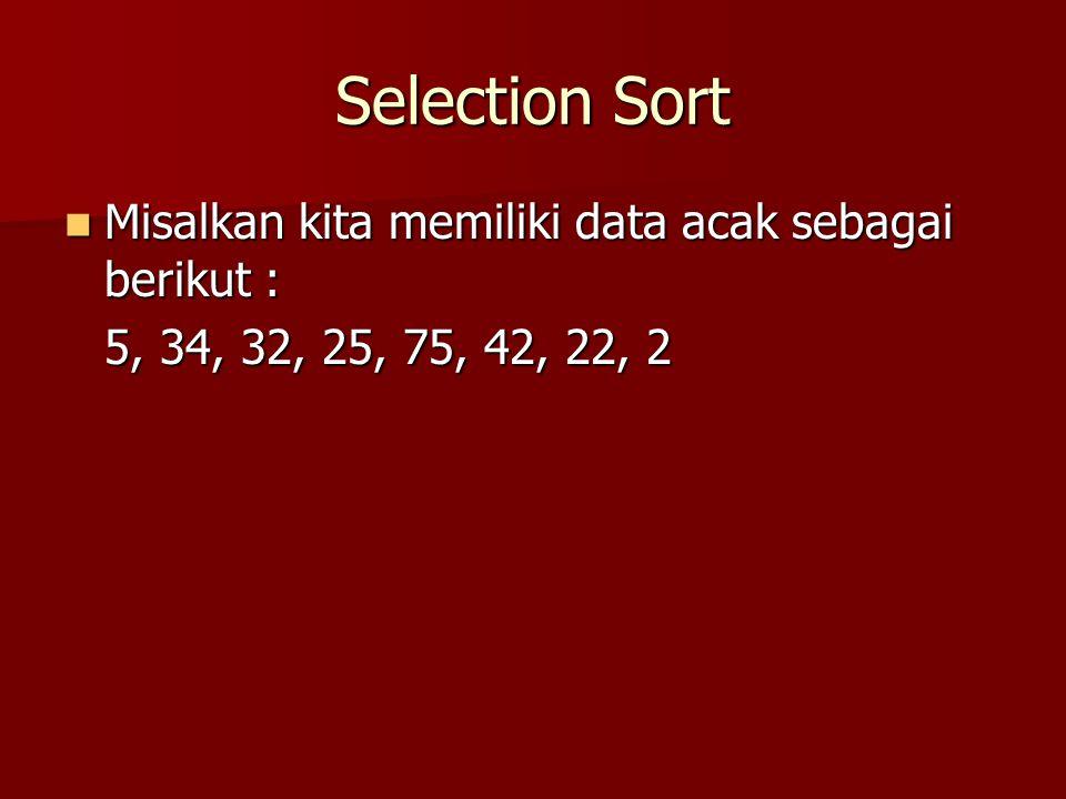 Selection Sort Langkah 0, data sebelumnya : Langkah 0, data sebelumnya : 5, 34, 32, 25, 75, 42, 22, 2 Pembanding  Posisi Terkecil Pembanding  Posisi Terkecil –5 > 34 .