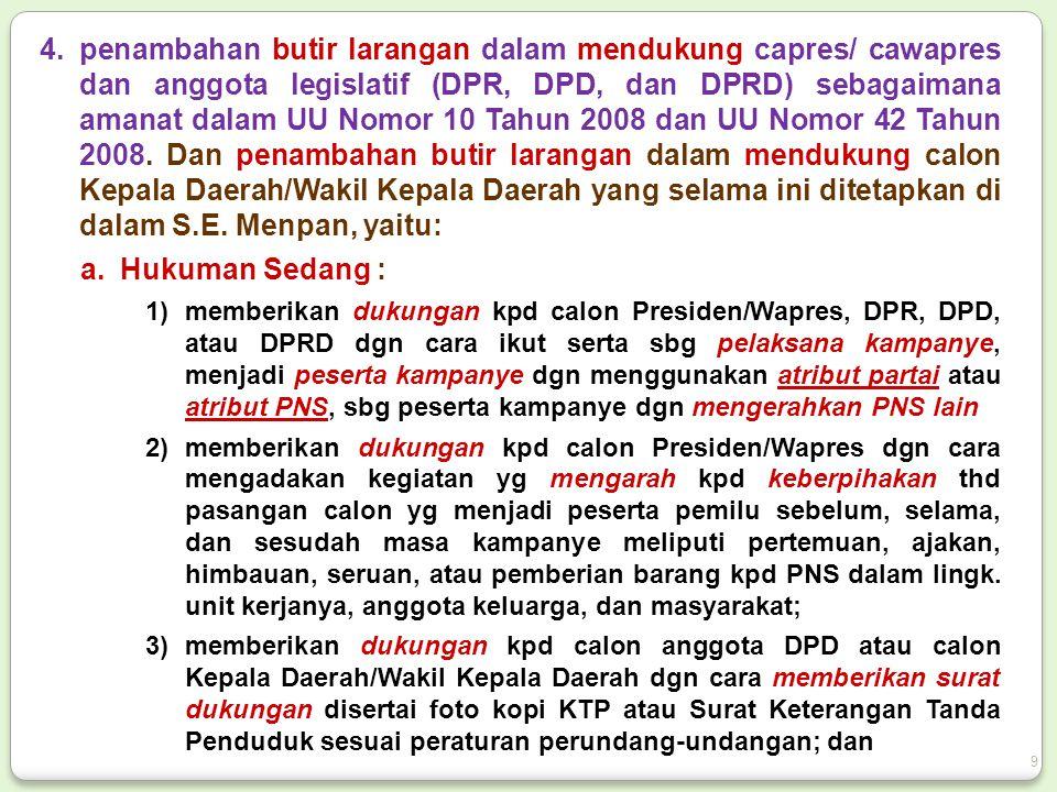 4.penambahan butir larangan dalam mendukung capres/ cawapres dan anggota legislatif (DPR, DPD, dan DPRD) sebagaimana amanat dalam UU Nomor 10 Tahun 20