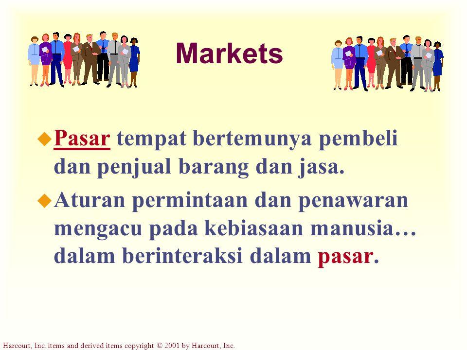 Harcourt, Inc. items and derived items copyright © 2001 by Harcourt, Inc. Markets u Pasar tempat bertemunya pembeli dan penjual barang dan jasa. u Atu