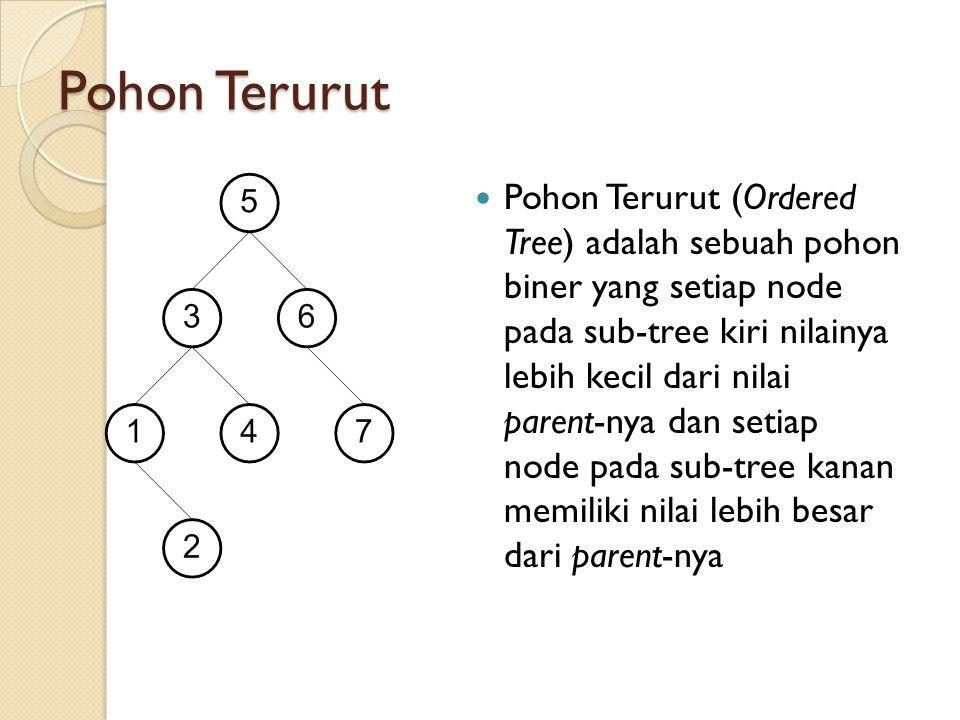 Pohon Terurut Pohon Terurut (Ordered Tree) adalah sebuah pohon biner yang setiap node pada sub-tree kiri nilainya lebih kecil dari nilai parent-nya da