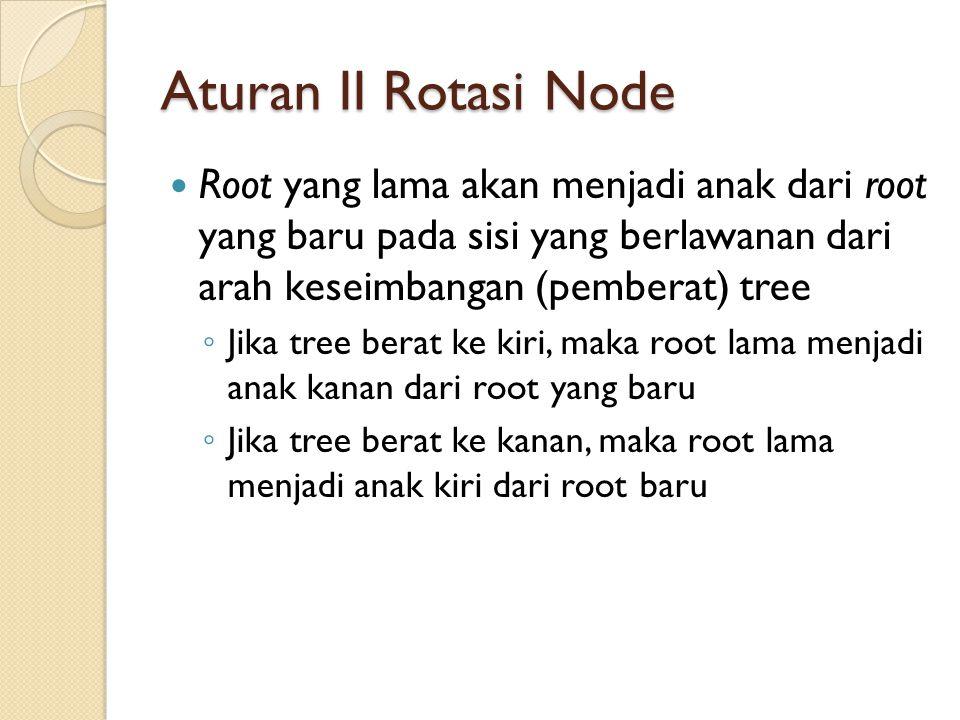 Aturan II Rotasi Node Root yang lama akan menjadi anak dari root yang baru pada sisi yang berlawanan dari arah keseimbangan (pemberat) tree ◦ Jika tre