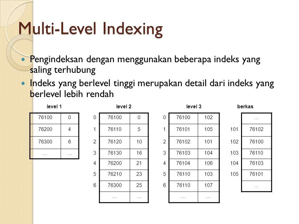 Multi-Level Indexing Pengindeksan dengan menggunakan beberapa indeks yang saling terhubung Indeks yang berlevel tinggi merupakan detail dari indeks ya