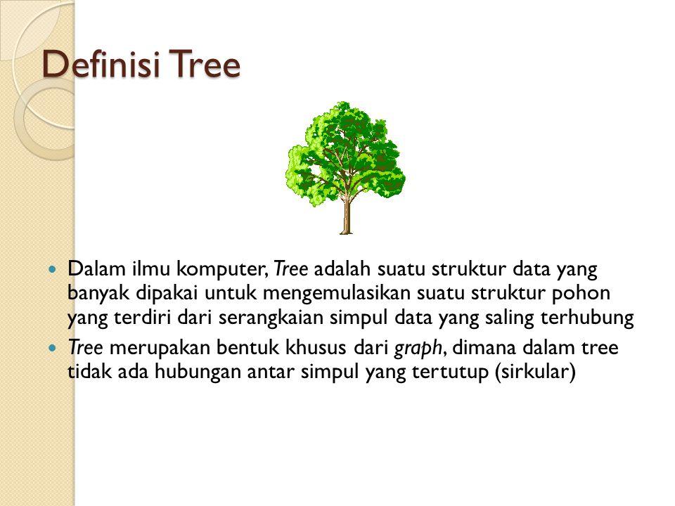 Definisi Tree Dalam ilmu komputer, Tree adalah suatu struktur data yang banyak dipakai untuk mengemulasikan suatu struktur pohon yang terdiri dari ser