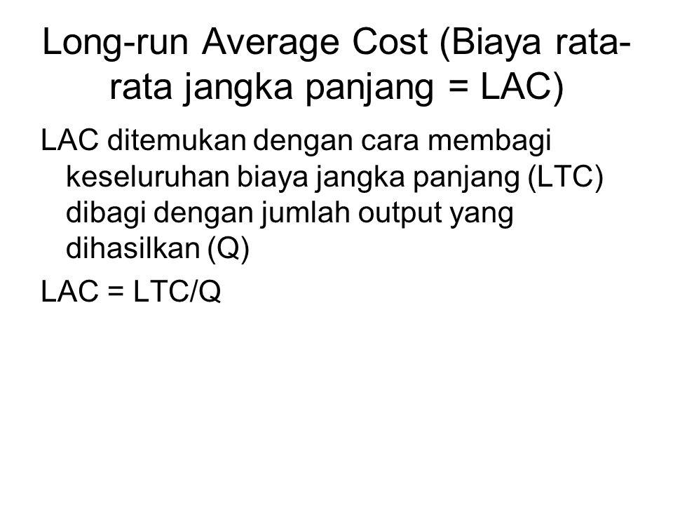 Long-run Average Cost (Biaya rata- rata jangka panjang = LAC) LAC ditemukan dengan cara membagi keseluruhan biaya jangka panjang (LTC) dibagi dengan j