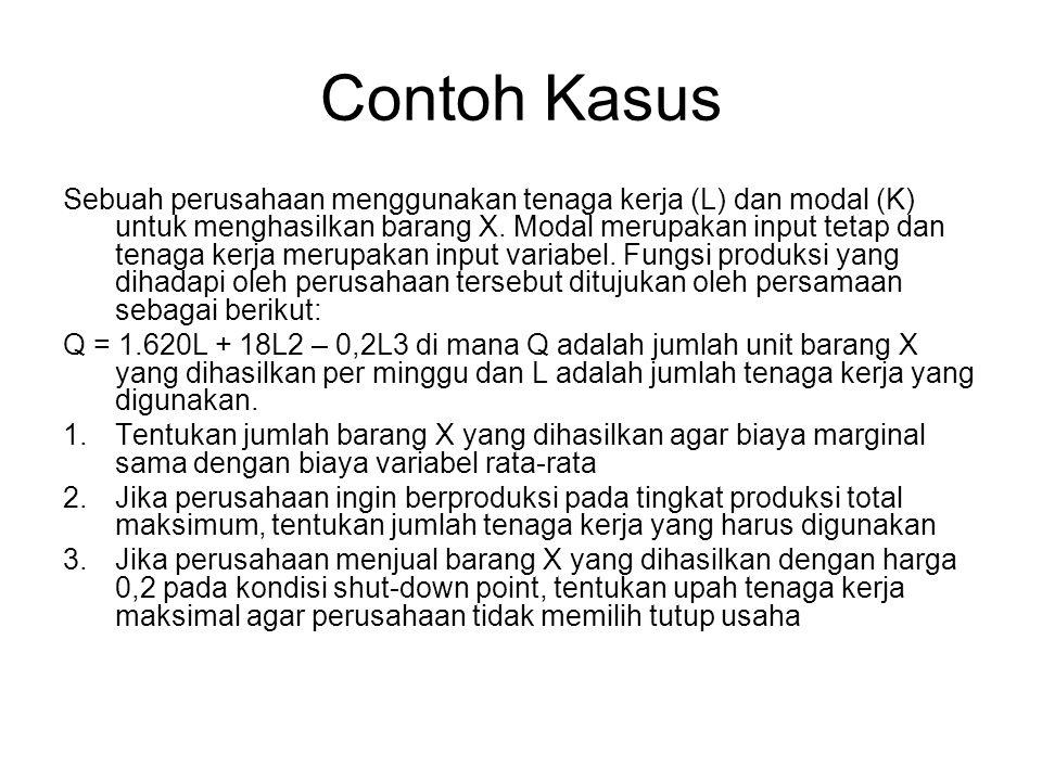 Contoh Kasus Sebuah perusahaan menggunakan tenaga kerja (L) dan modal (K) untuk menghasilkan barang X. Modal merupakan input tetap dan tenaga kerja me