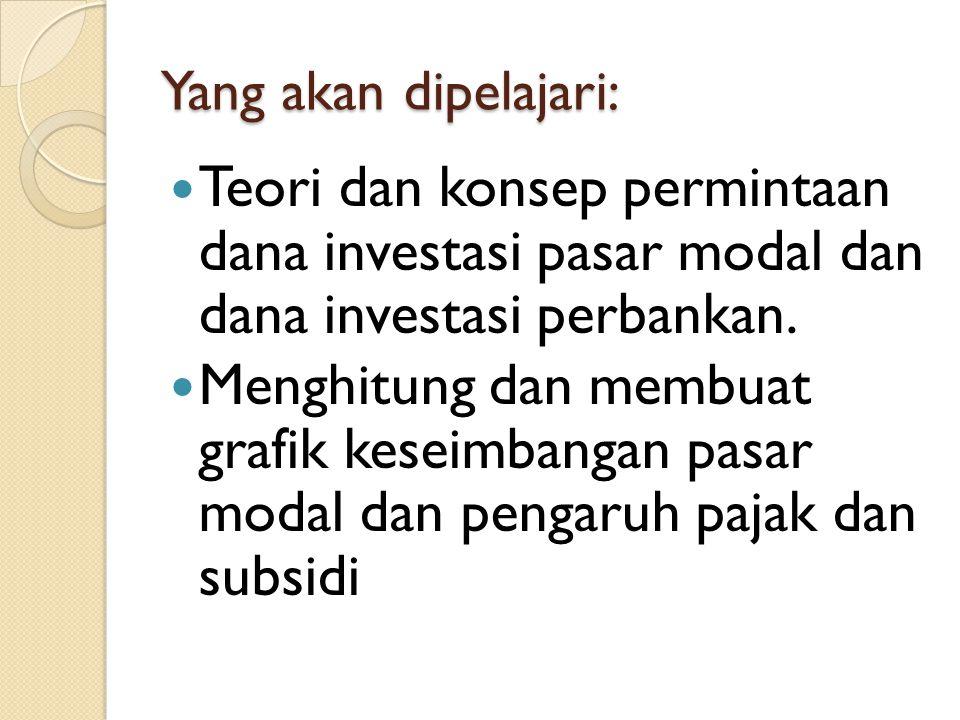 Yang akan dipelajari: Teori dan konsep permintaan dana investasi pasar modal dan dana investasi perbankan. Menghitung dan membuat grafik keseimbangan