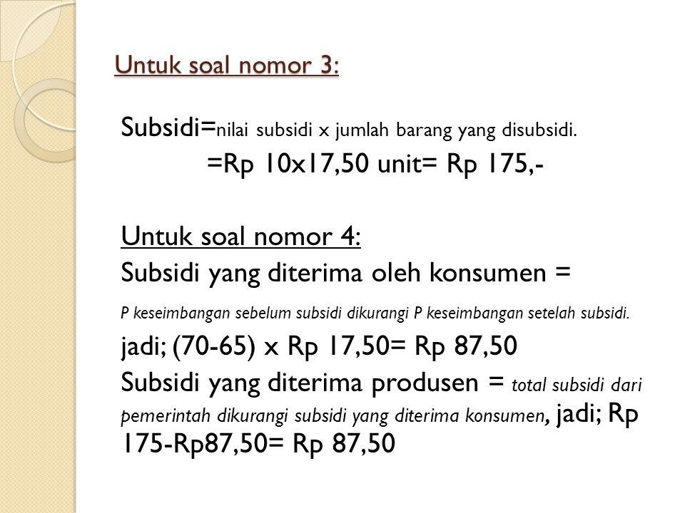 Untuk soal nomor 3: Subsidi= nilai subsidi x jumlah barang yang disubsidi. =Rp 10x17,50 unit= Rp 175,- Untuk soal nomor 4: Subsidi yang diterima oleh