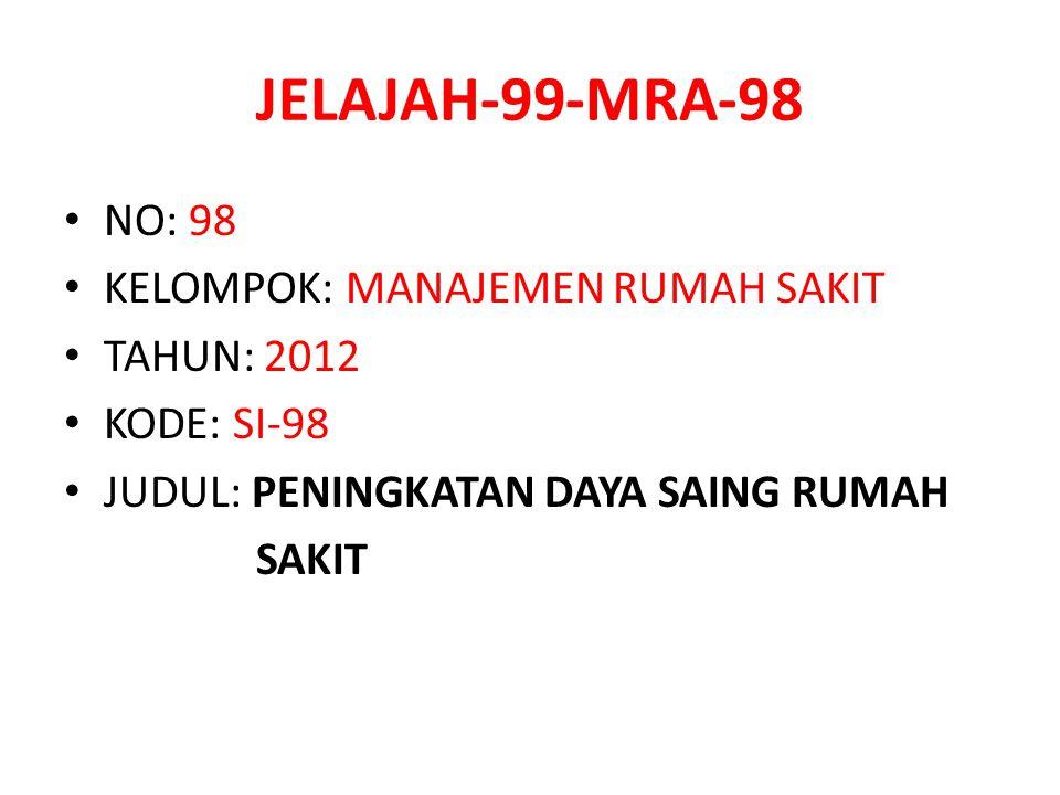 JELAJAH-99-MRA-98 NO: 98 KELOMPOK: MANAJEMEN RUMAH SAKIT TAHUN: 2012 KODE: SI-98 JUDUL: PENINGKATAN DAYA SAING RUMAH SAKIT