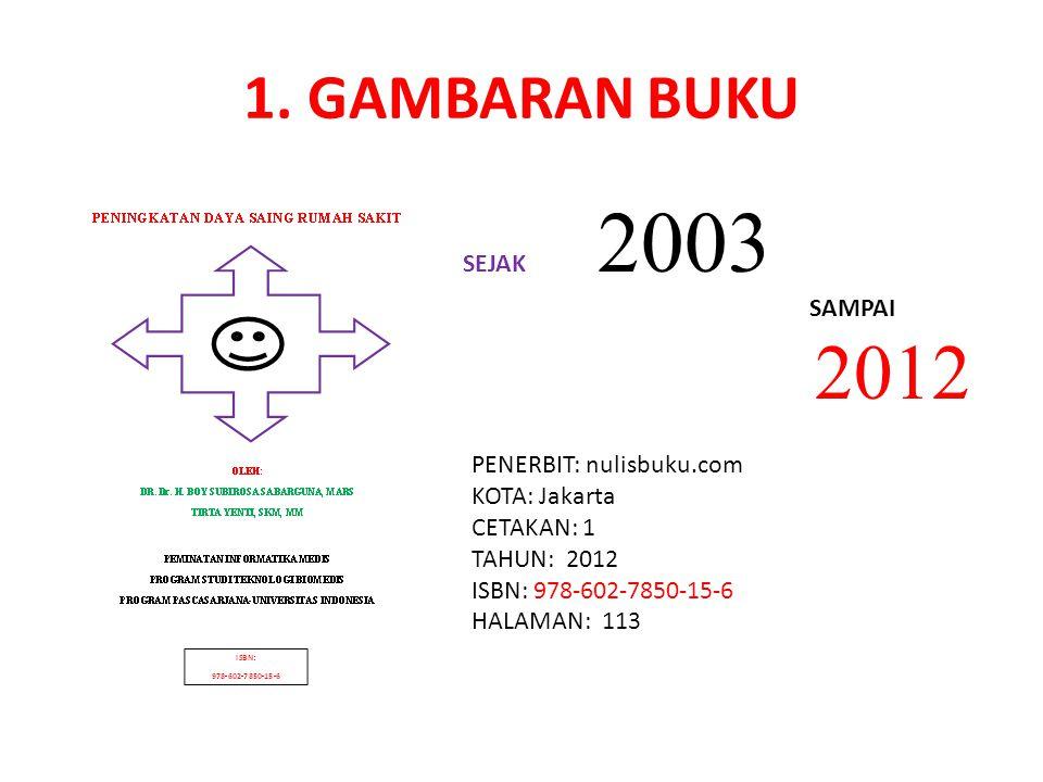 1. GAMBARAN BUKU SEJAK 2003 SAMPAI 2012 PENERBIT: nulisbuku.com KOTA: Jakarta CETAKAN: 1 TAHUN: 2012 ISBN: 978-602-7850-15-6 HALAMAN: 113