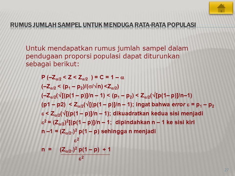 27 Untuk mendapatkan rumus jumlah sampel dalam pendugaan proporsi populasi dapat diturunkan sebagai berikut: P (–Z  /2 < Z < Z  /2 ) = C = 1 –  (–Z