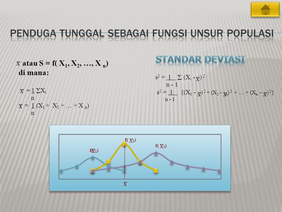 f( 1 ) f( 2 ) f( 3 ) s 2 = 1  (X i - ) 2 n - 1 s 2 = 1 {(X 1 - ) 2 + (X 2 - x ) 2 + … + (X n - ) 2 } n - 1 XX X X X X X X atau S = f( X 1, X 2, …, X