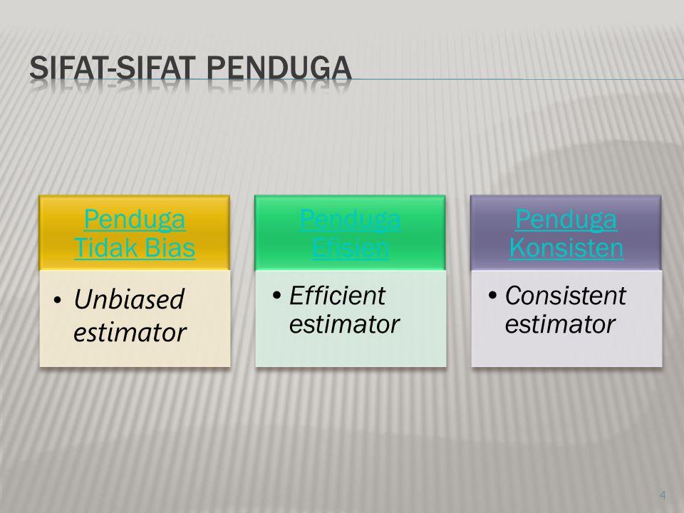 4 Penduga Tidak Bias Unbiased estimator Penduga Efisien Efficient estimator Penduga Konsisten Consistent estimator