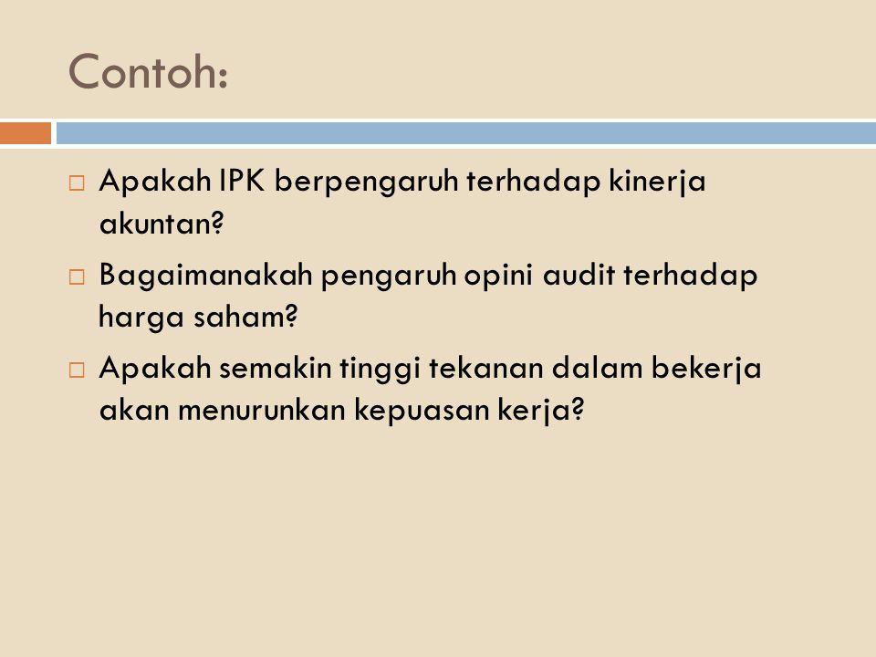 Contoh:  Apakah IPK berpengaruh terhadap kinerja akuntan?  Bagaimanakah pengaruh opini audit terhadap harga saham?  Apakah semakin tinggi tekanan d