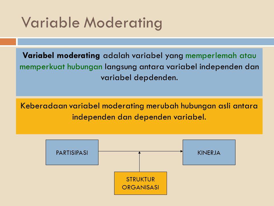Variable Moderating Variabel moderating adalah variabel yang memperlemah atau memperkuat hubungan langsung antara variabel independen dan variabel dep