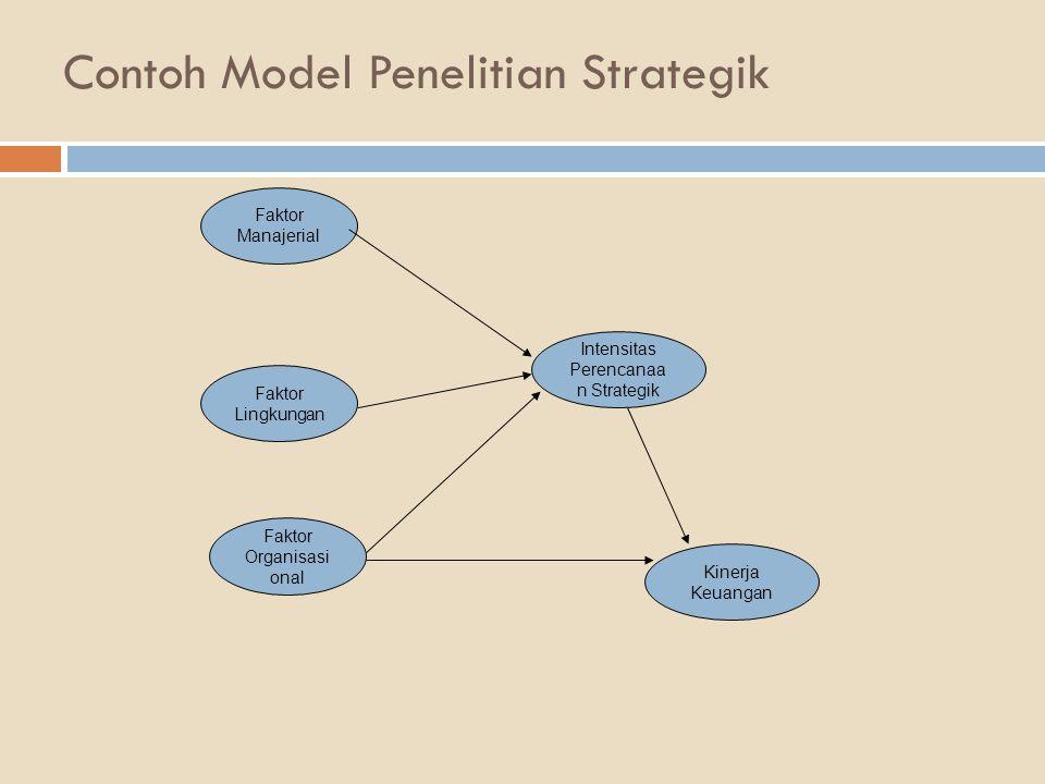 Contoh Model Penelitian Strategik Faktor Manajerial Faktor Lingkungan Faktor Organisasi onal Intensitas Perencanaa n Strategik Kinerja Keuangan
