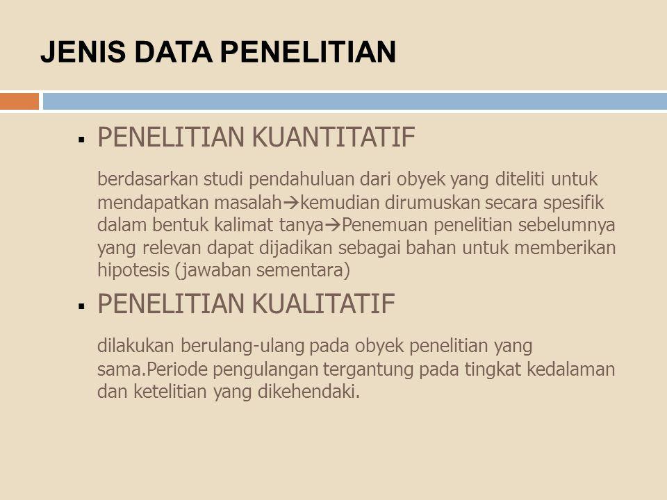 JENIS DATA PENELITIAN  PENELITIAN KUANTITATIF berdasarkan studi pendahuluan dari obyek yang diteliti untuk mendapatkan masalah  kemudian dirumuskan