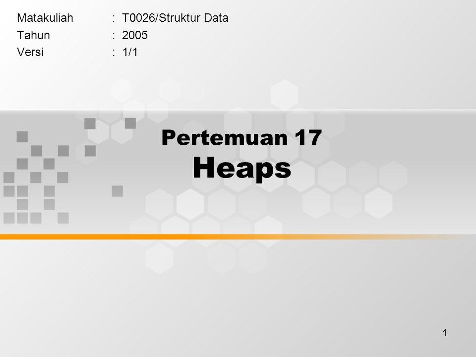 1 Pertemuan 17 Heaps Matakuliah: T0026/Struktur Data Tahun: 2005 Versi: 1/1