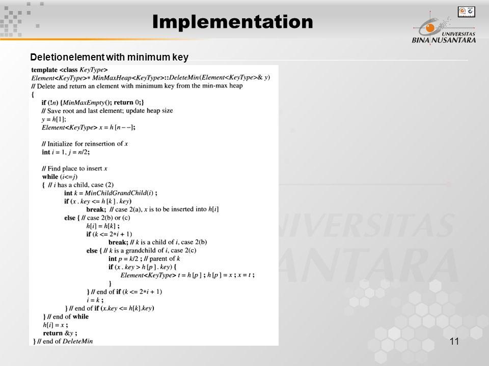 11 Implementation Deletionelement with minimum key