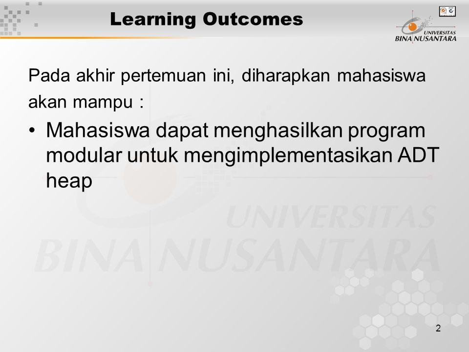 2 Learning Outcomes Pada akhir pertemuan ini, diharapkan mahasiswa akan mampu : Mahasiswa dapat menghasilkan program modular untuk mengimplementasikan ADT heap