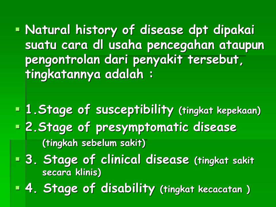  Natural history of disease dpt dipakai suatu cara dl usaha pencegahan ataupun pengontrolan dari penyakit tersebut, tingkatannya adalah :  1.Stage of susceptibility (tingkat kepekaan)  2.Stage of presymptomatic disease (tingkah sebelum sakit)  3.