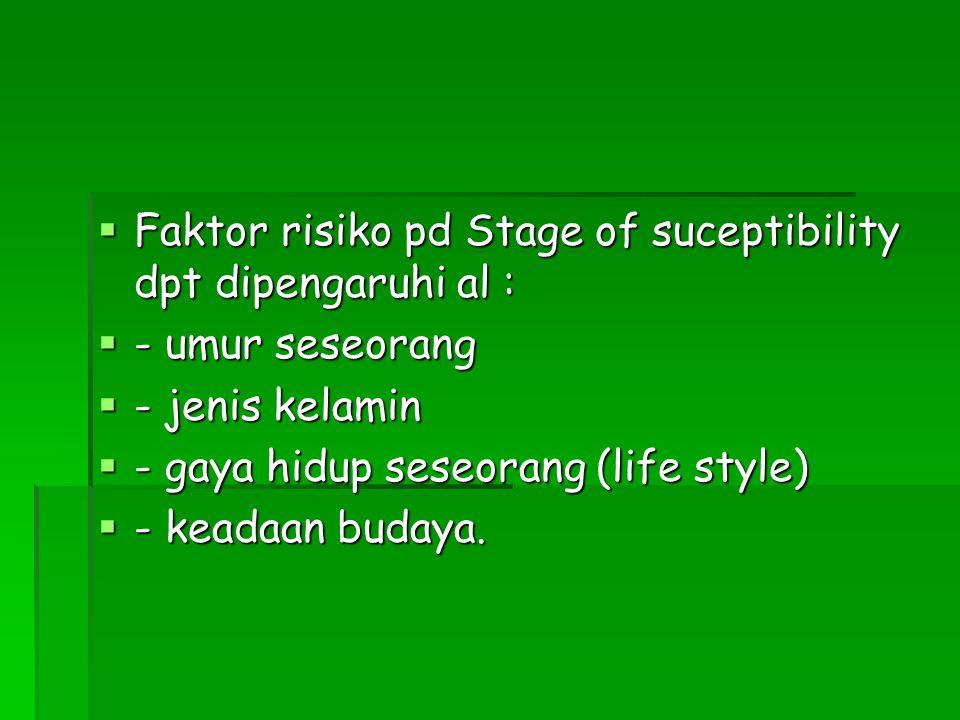  Faktor risiko pd Stage of suceptibility dpt dipengaruhi al :  - umur seseorang  - jenis kelamin  - gaya hidup seseorang (life style)  - keadaan budaya.