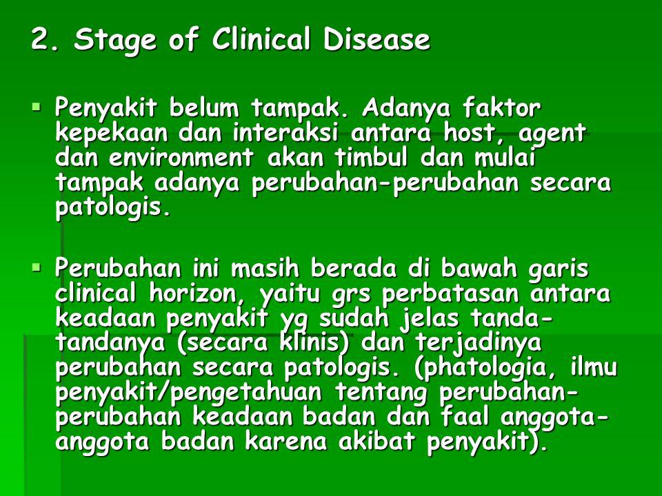 2. Stage of Clinical Disease  Penyakit belum tampak. Adanya faktor kepekaan dan interaksi antara host, agent dan environment akan timbul dan mulai ta