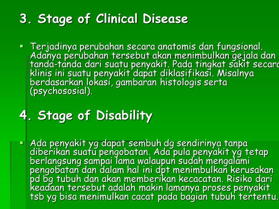 3. Stage of Clinical Disease  Terjadinya perubahan secara anatomis dan fungsional. Adanya perubahan tersebut akan menimbulkan gejala dan tanda-tanda