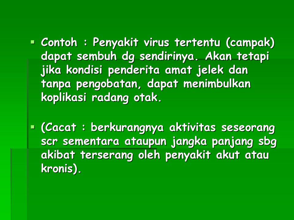  Contoh : Penyakit virus tertentu (campak) dapat sembuh dg sendirinya. Akan tetapi jika kondisi penderita amat jelek dan tanpa pengobatan, dapat meni