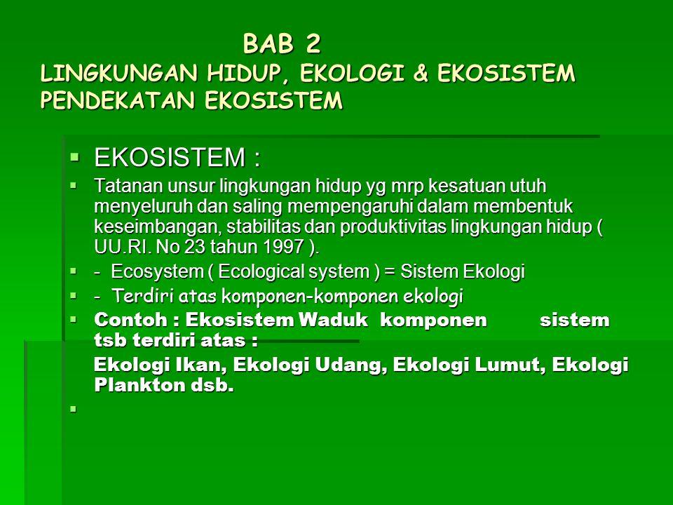 BAB 2 LINGKUNGAN HIDUP, EKOLOGI & EKOSISTEM PENDEKATAN EKOSISTEM  EKOSISTEM :  Tatanan unsur lingkungan hidup yg mrp kesatuan utuh menyeluruh dan sa