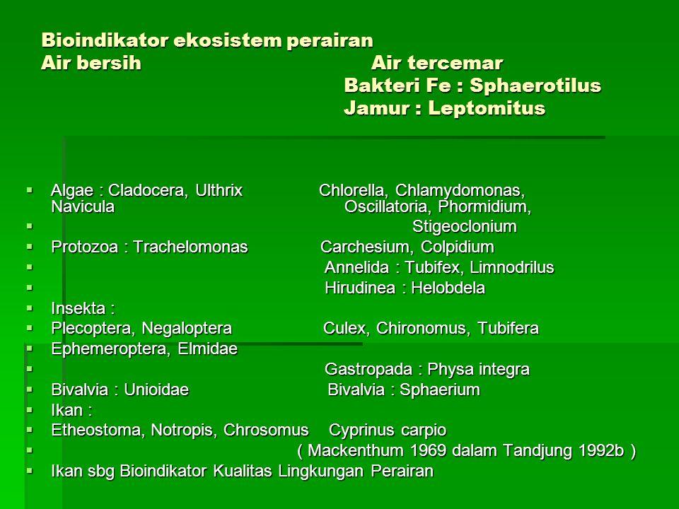 Bioindikator ekosistem perairan Air bersih Air tercemar Bakteri Fe : Sphaerotilus Jamur : Leptomitus  Algae : Cladocera, Ulthrix Chlorella, Chlamydomonas, Navicula Oscillatoria, Phormidium,  Stigeoclonium  Protozoa : Trachelomonas Carchesium, Colpidium  Annelida : Tubifex, Limnodrilus  Hirudinea : Helobdela  Insekta :  Plecoptera, Negaloptera Culex, Chironomus, Tubifera  Ephemeroptera, Elmidae  Gastropada : Physa integra  Bivalvia : Unioidae Bivalvia : Sphaerium  Ikan :  Etheostoma, Notropis, Chrosomus Cyprinus carpio  ( Mackenthum 1969 dalam Tandjung 1992b )  Ikan sbg Bioindikator Kualitas Lingkungan Perairan