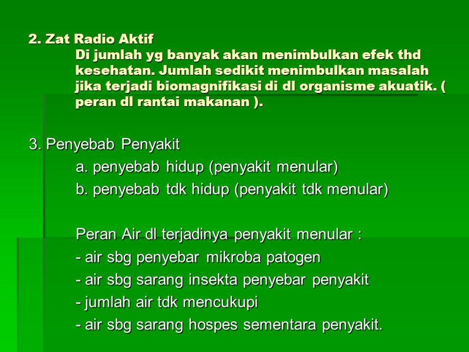 2. Zat Radio Aktif Di jumlah yg banyak akan menimbulkan efek thd kesehatan. Jumlah sedikit menimbulkan masalah jika terjadi biomagnifikasi di dl organ